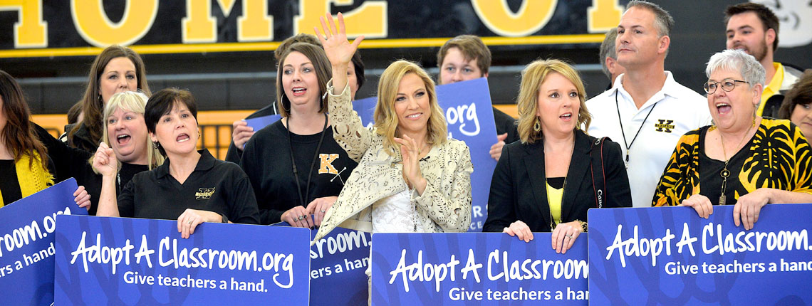 KENNETT, MISSOURI - FEBRUARY 02:  Recording Artist Sheryl Crow and Farmers Insurance Present Teachers at Kennett High School with an AdoptAClassroom.org Grant during a Pep Rally on February 2, 2016 in Kennett, Missouri  (Photo by Jason Davis/Getty Images for Farmers Insurance)