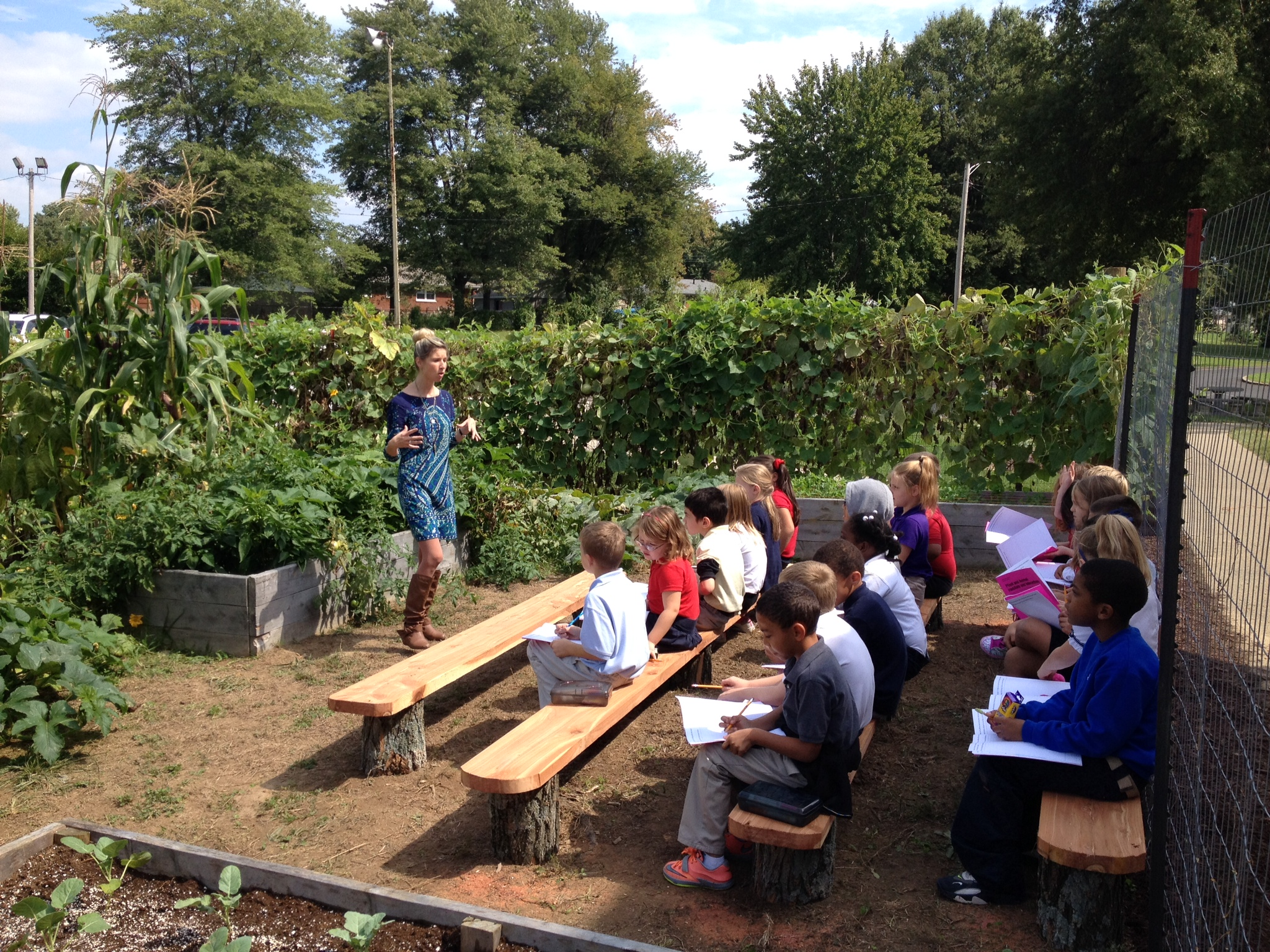 The garden provides valuable time outdoors for students. Look – they're even paying attention!
