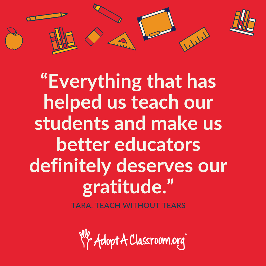 Everything that has helped us teach our students and make us better educators definitely deserves our gratitude.