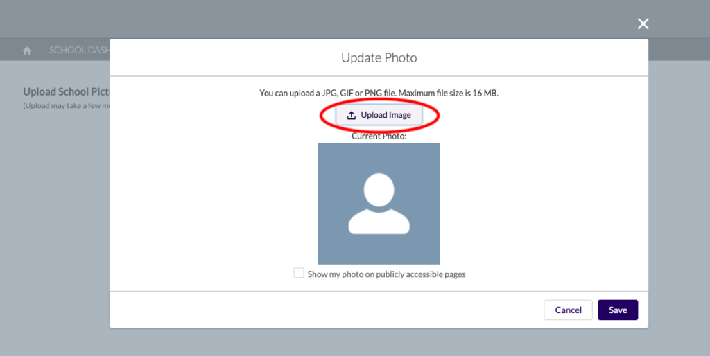 "In the popup window, click the ""Upload Image"" button and select the image you would like to feature on your school page."