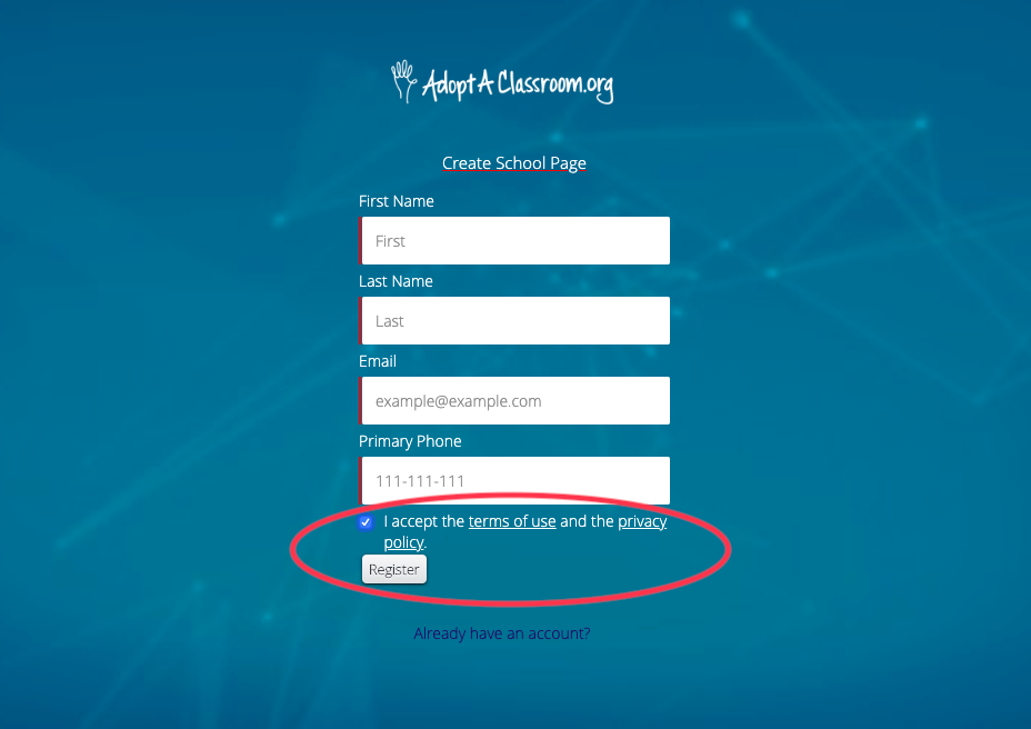 """Fill in your contact information, accept the AdoptAClassroom.org terms of use and privacy policy, and click the """"Register"""" button."""