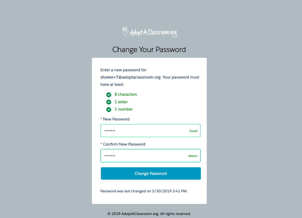 """Set your password. Create a unique  password that meets the password requirements, and click the """"Change Password"""" button."""