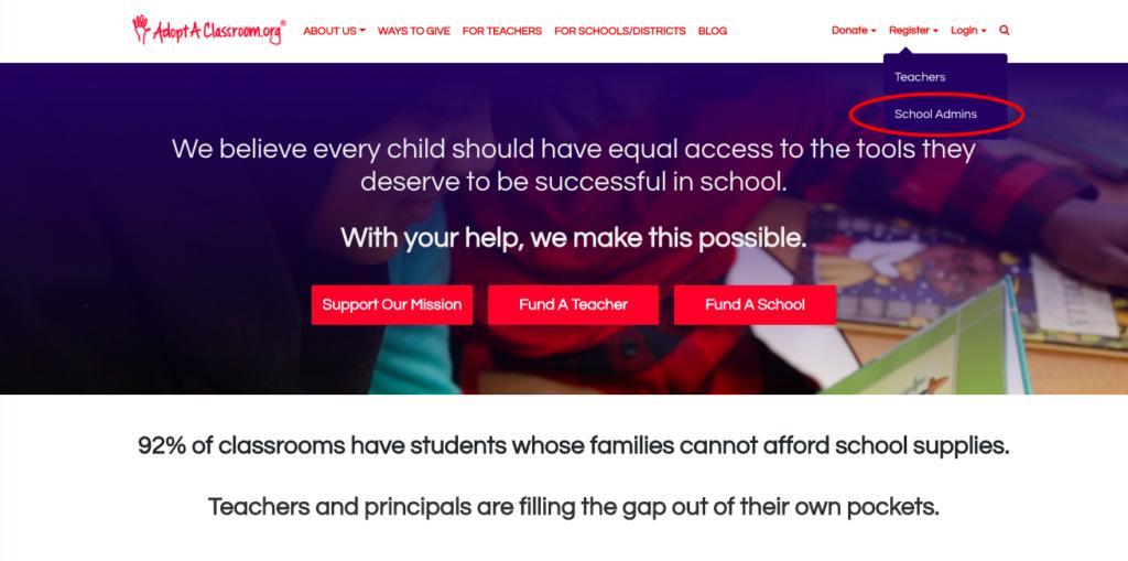 How to register for the AdoptAClassroom.org School Program