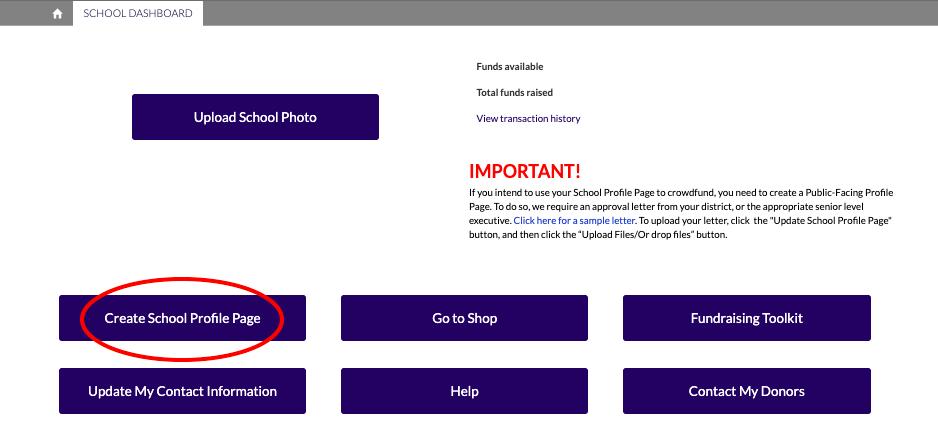 Click Create School Profile Page Button