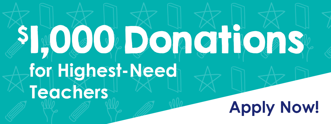 $1000 classroom supply donations for teachers