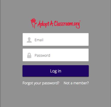 adoptaclassroom.org login page