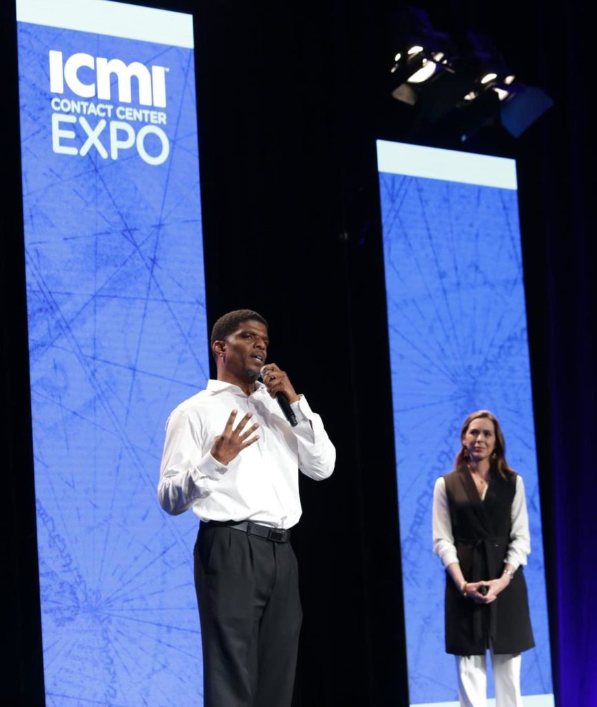 Assistant Principal Theon Eames on stage at the 2019 ICMI Contact Center Expo.