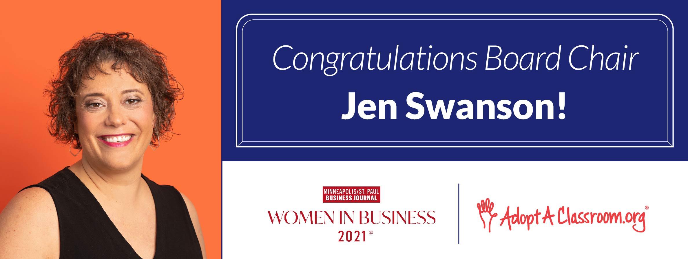 Congratulations Jen Swanson